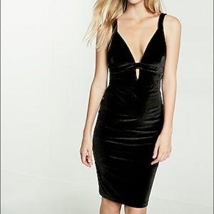 Express Plunging V Neck Black Velvet Formal Dress